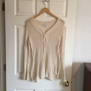 Tommy Hilfiger Women's Cream Netted Sweater. Sz L.